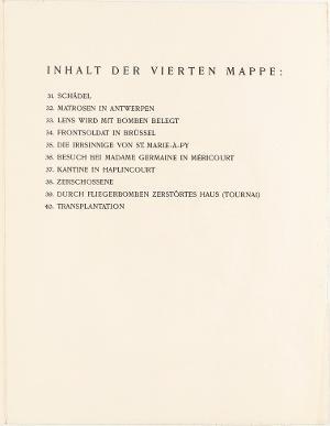 Der Krieg, Inhaltsverzeichnis Mappe IV, 1924