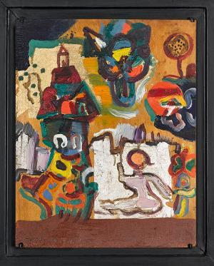 Kleine Komposition auf Gold, 1950