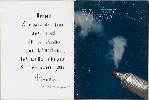 """Covergestaltung für die Zeitschrift """"View. The Modern Magazine. Marcel Duchamp Number, Vol. 5, No.1"""", hrsg. v. Charles Henri Ford, New York, März 1945, März 1945"""