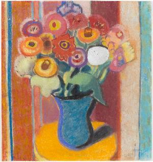 Blumen in blauer Vase, 1945