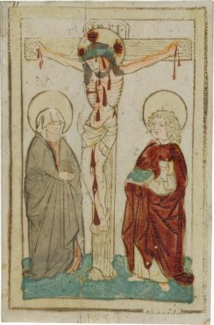 Christus am Kreuz mit Maria und Johannes, um 1460