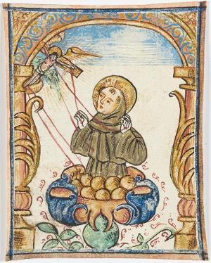 Der Heilige Franziskus von Assisi, in einer Blüte stehend, empfängt die Stigmata, 16. Jh.