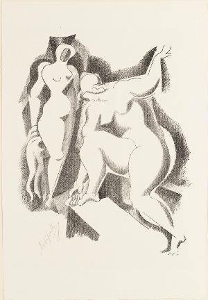 Zwei weibliche Akte (Blatt 1 in: Bauhaus-Drucke. 4te Mappe), 1921/22 (1923)
