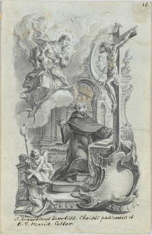 Der heilige Augustinus verehrt Christus und Maria, nicht datiert