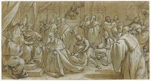 Der Doge Sebastiano Ziani erhält kniend eine Urkunde von Papst Alexander III., nach 1577