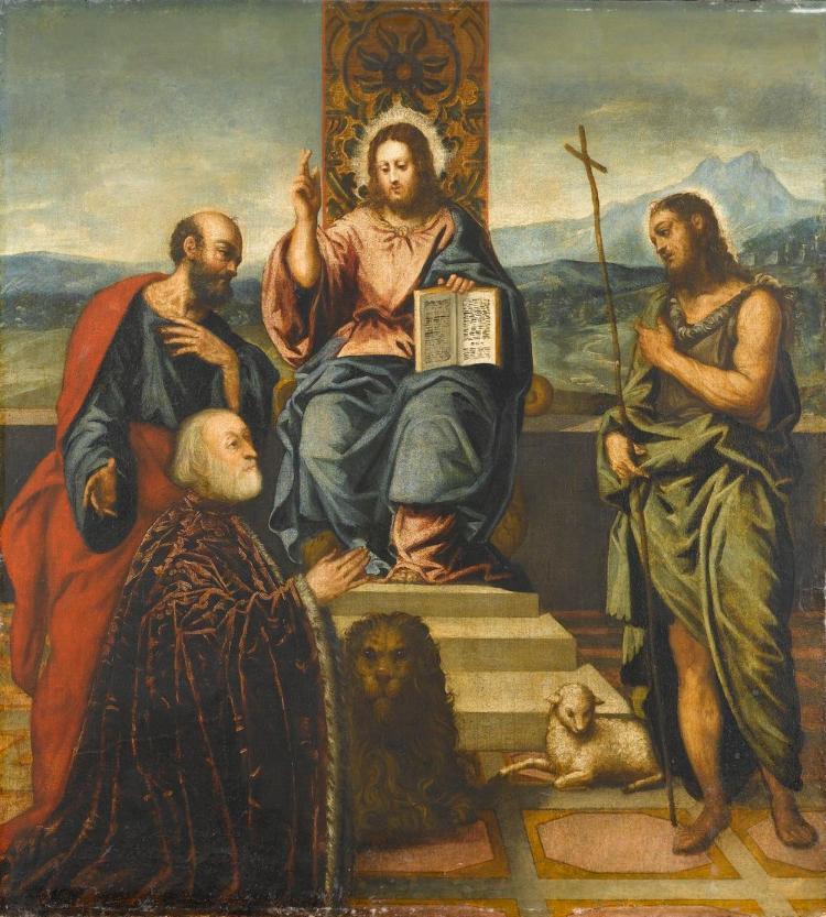 Christus, thronend mit zwei Heiligen