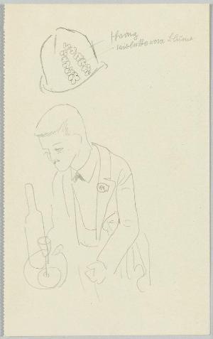 Skizzenblatt mit Kellner und Hut, 1925