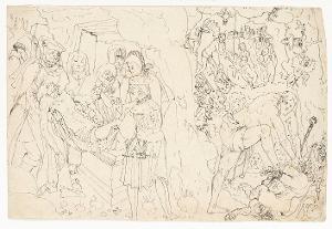 Grablegung Christi - Christus in der Vorhölle - Christus als Bezwinger des Teufels (Verso: Detailskizzen), um 1519-1522