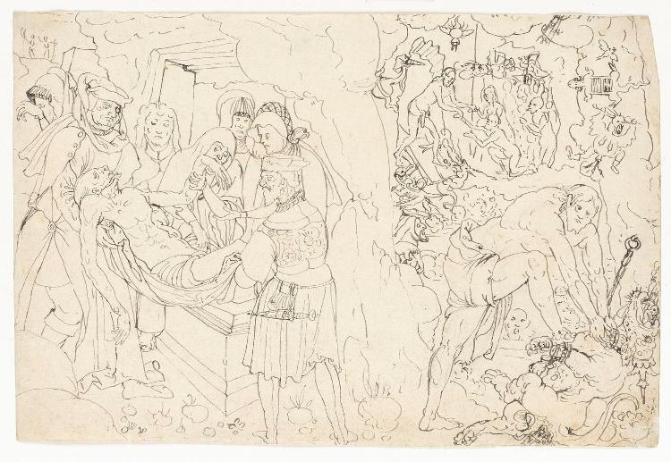 Grablegung Christi - Christus in der Vorhölle - Christus als Bezwinger des Teufels (Verso: Detailskizzen)
