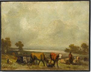 Vieh am Seeufer, nicht datiert