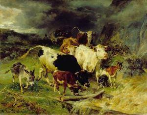 Kühe im Gewitter, um 1873