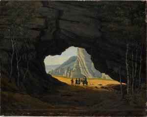 Felsentor mit Reisenden, nicht datiert