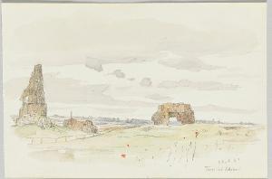 Weitblick mit römischen Ruinen (Torri dei Schiavi), 1894