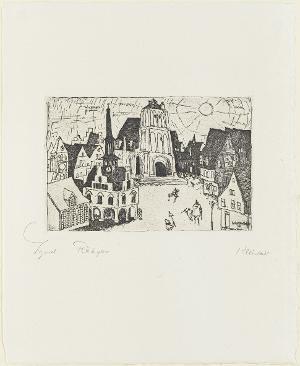 Sonnenaufgang in der Kleinstadt (Blatt 5 in: Arno Holz zum sechzigsten Geburtstage), 1911 (1923)