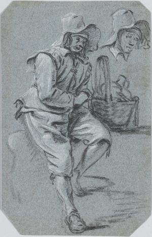 Studienblatt mit sitzendem Bauern mit Korb, um 1740