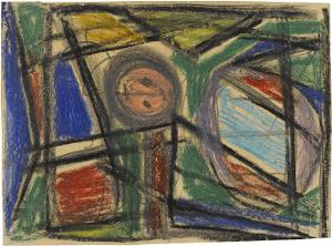 Abstrakte Komposition mit zwei Kugelelementen, nicht datiert