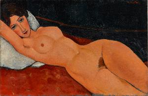 Female Nude Reclining on a White Pillow, um 1917