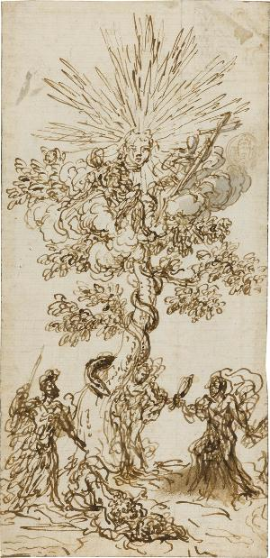 Die Dreieinigkeit im Baum der Erkenntnis; Verso: Rest einer pflanzlichen Dekoration (angeschnitten), um 1650