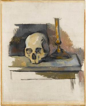 Stillleben mit Totenkopf und Leuchter, um 1900