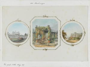 Die große Villa Berg (a. Vorderansicht; b. Laubengang; c. Seitenansicht), 1857