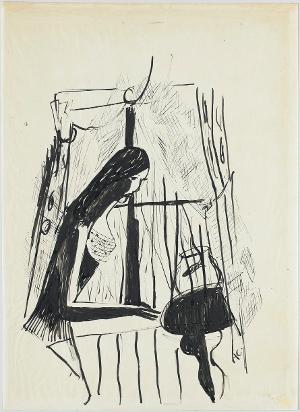 Frau am Fenster vor einem Goldfischglas, um 1950