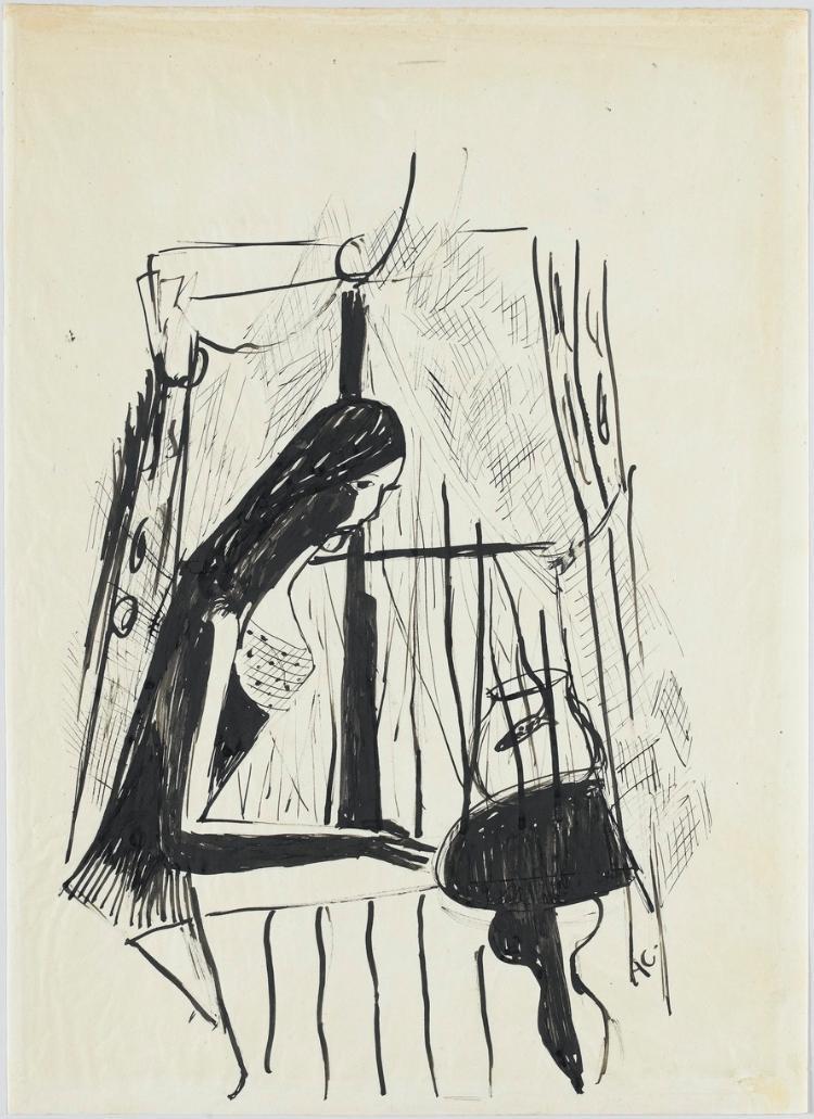 Frau am Fenster vor einem Goldfischglas