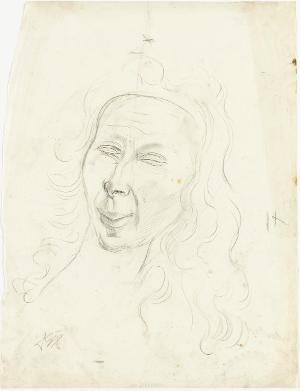 Frauenkopf mit langem Haar, 1926