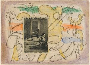 Callot-Figuren mit Collage; Verso: Komposition, 1942