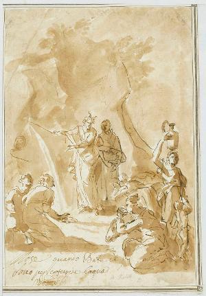 Moses schlägt Wasser aus dem Felsen, um 1676/79