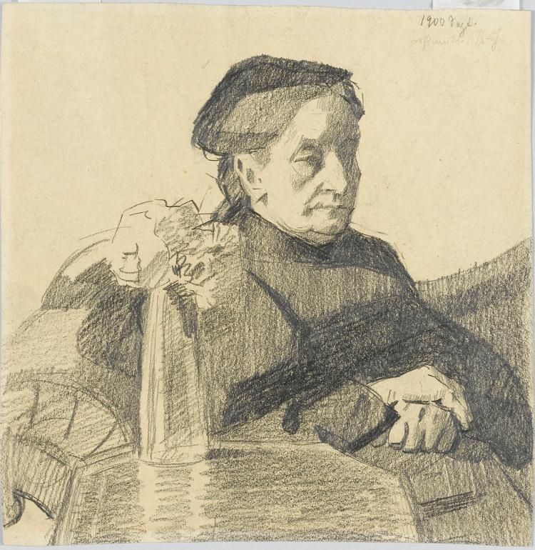 Die Großmutter des Künstlers; verso: Zwei Mädchen mit Körben