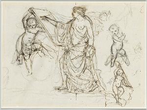 Skizzenblatt fü eine Pictura (Allegorie der Malerei); Verso: Die Figur des Recto als Aktstudie, um 1800