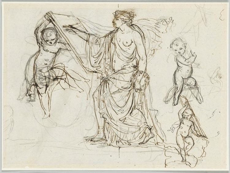 Skizzenblatt fü eine Pictura (Allegorie der Malerei); Verso: Die Figur des Recto als Aktstudie