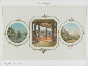Die grosse Villa. Berg (a. am Abend, beleuchtet; b. Laubengänge; c. Seitenansicht), 1857