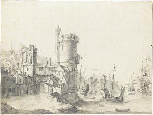 Ansicht eines Hafens, um 1640-1666