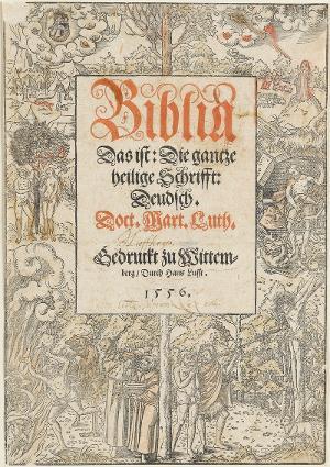 Gesetz und Gnade. Titeleinfassung zu: Biblia, 1556, 1556