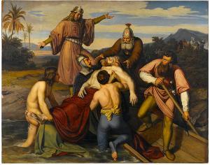Der Tod Kaiser Friedrich Barbarossas. Seine Leiche wird aus dem Kalykadnos gezogen, 1831