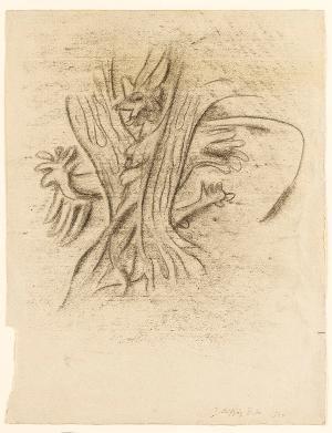 Sturm, Blatt 5: »... verschloß sie / Mit ihrer stärkern Diener Hilfe dich, / In ihrer höchsten unzähmbaren Wut, / In einer Fichte Spalt; ein Dutzend Jahre / Verbliebst du darin, peinlich eingeklemmt.«, 1943