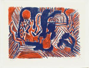Landschaft mit Figuren (Nr. 32 in: Drucke der Eidos-Presse), 1947