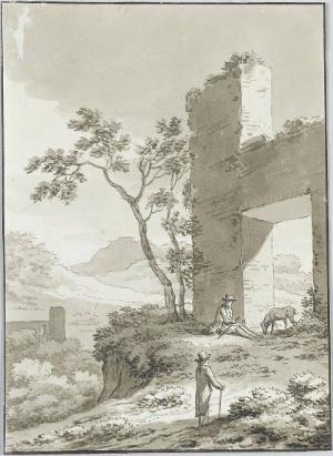 Italienische Landschaft mit zwei Spaziergängern, nicht datiert