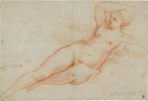 Auf einem Delphin gelagerter Frauenakt (Venus?), um 1640/50
