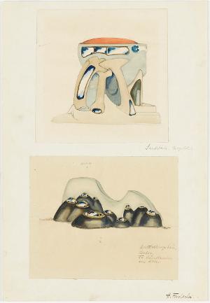 Architektur mit Ziegeldach; Ausstellungsbau (Serie I, Blatt 10), 1919