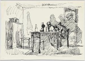 Zwei Männer im Gespräch bei der Lampe; Verso: Stehender Mann, 1912