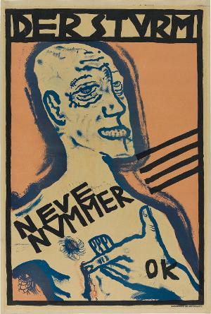 Selbstbildnis mit Hand auf der Brust (Plakat zu: Der Sturm, Berlin 1910), 1910