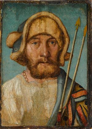 Bildnis eines unbekannten Mannes als Hl. Sebastian (?), 1. Viertel 16. Jh.