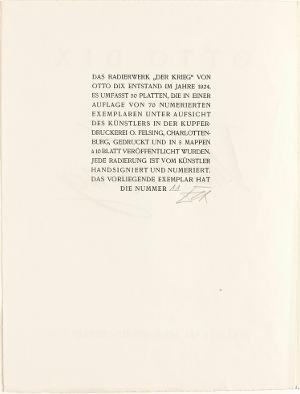 Der Krieg, Impressum, 1924