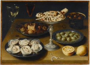 Stillleben mit Austern, Konfekt und Früchten, 1. Jahrzehnt 17. Jh.