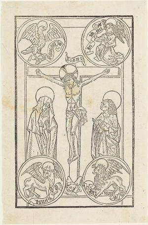 Christus am T-Kreuz mit Evangelistensymbolen, 1481