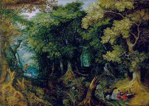 Waldlandschaft mit der Geschichte des verführten Propheten, nach 1600
