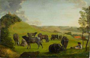 Hügellandschaft mit weidendem Vieh (Die Achalm mit Blick zur Alb), nicht datiert