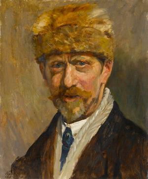 Self-portrait in fur cap, 1920